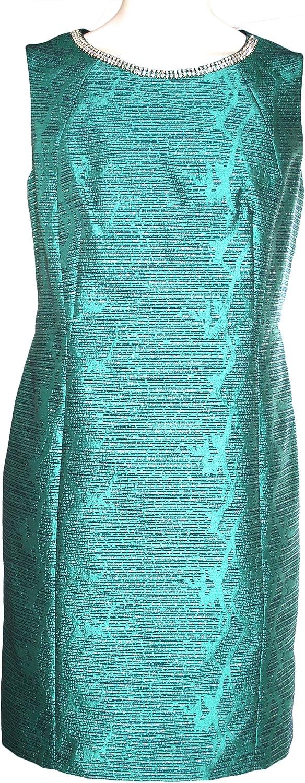 Tahari by ASL Crystal Beaded Neck Jacquard Sheath Dress Size 10 Emerald Green