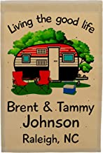 Happy Camper World Living The Good Life Personalized Campsite Flag, Retro Trailer Customize Your Way, Flag Only, Tan Fabric (Black/Red)