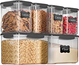 12-Piece Airtight Food Storage Containers With Lids - BPA FREE Plastic Kitchen Pantry Storage Containers - Dry-Food-Storage Containers Set For Flour, Cereal, Sugar, Coffee, Rice, Nuts, Snacks Etc.
