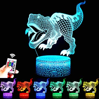 FUFUYOU T-rex Dinosaur Toys, 16 Colors 3D Desk Lamp Dimmable Remote Control Night Light for Kids Age 2 3 4 5 6 7 8-12 Year...
