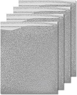 MiPremium Silver Glitter Heat Transfer Vinyl HTV, Glitter Iron On Vinyl (Pack of 4 Sheets), for T Shirts Sports Clothing, Garments & Fabrics, Easy to Cut Press & Weed Silver Glitter Vinyl (Silver)