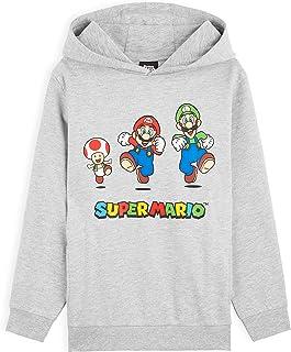 SUPER MARIO Sudadera Niño con Capucha, Sudadera Gris con Personaje Mario Bros y Luigi, Merchandising Oficial Regalos para ...