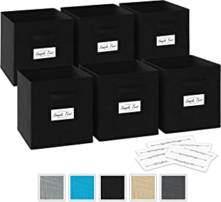 Neaterize Storage Cubes - Set of 6 Storage Bins | 2 Handles & 10 Label Window Cards | Cube Storage Bins | Foldable Closet Organizers and Storage | Fabric Storage Box for Home, Office (Black)