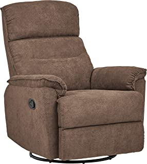 Ravenna Home Pull Recliner with Rotating 360 Swivel Glider,  Living Room Chair, Fabric, Smokey Grey