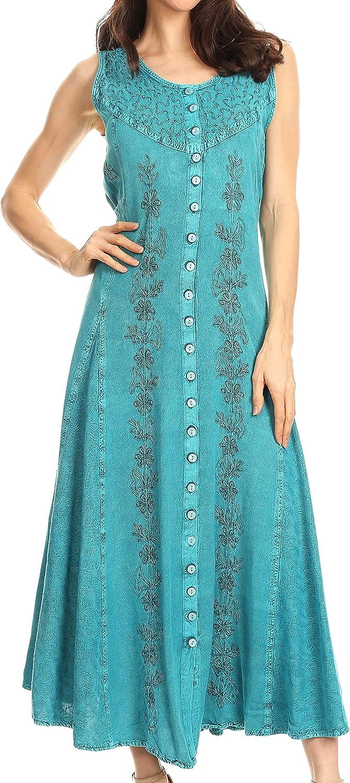 Sakkas Maya Floral Embroidered Sleeveless Button Up Rayon Dress