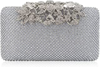 Womens Evening Bag with Flower Closure Rhinestone Crystal Clutch Purse for Wedding Party