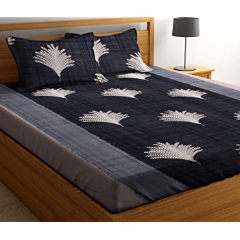 HIYANSHI HOME FURNISHING Microfiber Double Bedsheet with 2 Pillow Covers (Grey 2) 90 x 90 inches