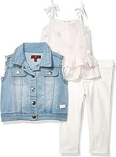Baby Girls Vest, Fashion Tank Top, and Denim Jean Set