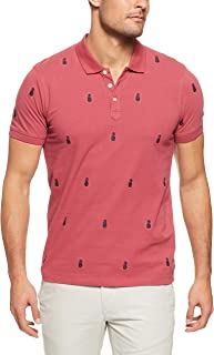 French Connection Men's Pineapple EMBROIRDERED Polo, Melon