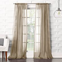 "No. 918 Tayla Crushed Sheer Voile Rod Pocket Curtain Panel, Oatmeal Beige, 50"" x 84"""