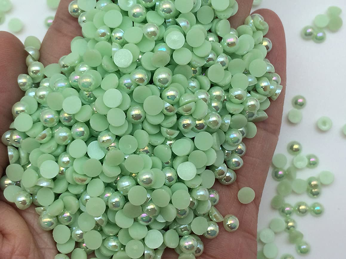 PEPPERLONELY Brand 1000PC 4mm Green AB Flat Back Pearl Cabochons