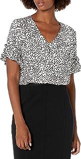 Amazon Brand - Lark & Ro Women's Florence Ruffle Short Sleeve V-Neck Top