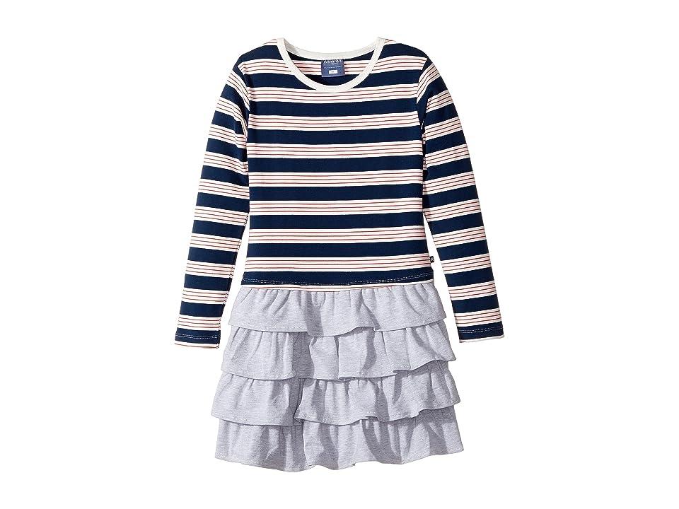 Toobydoo French Stripe Ruffle Skirt Dress (Toddler/Little Kids/Big Kids) (Navy/Red/Grey/White) Girl
