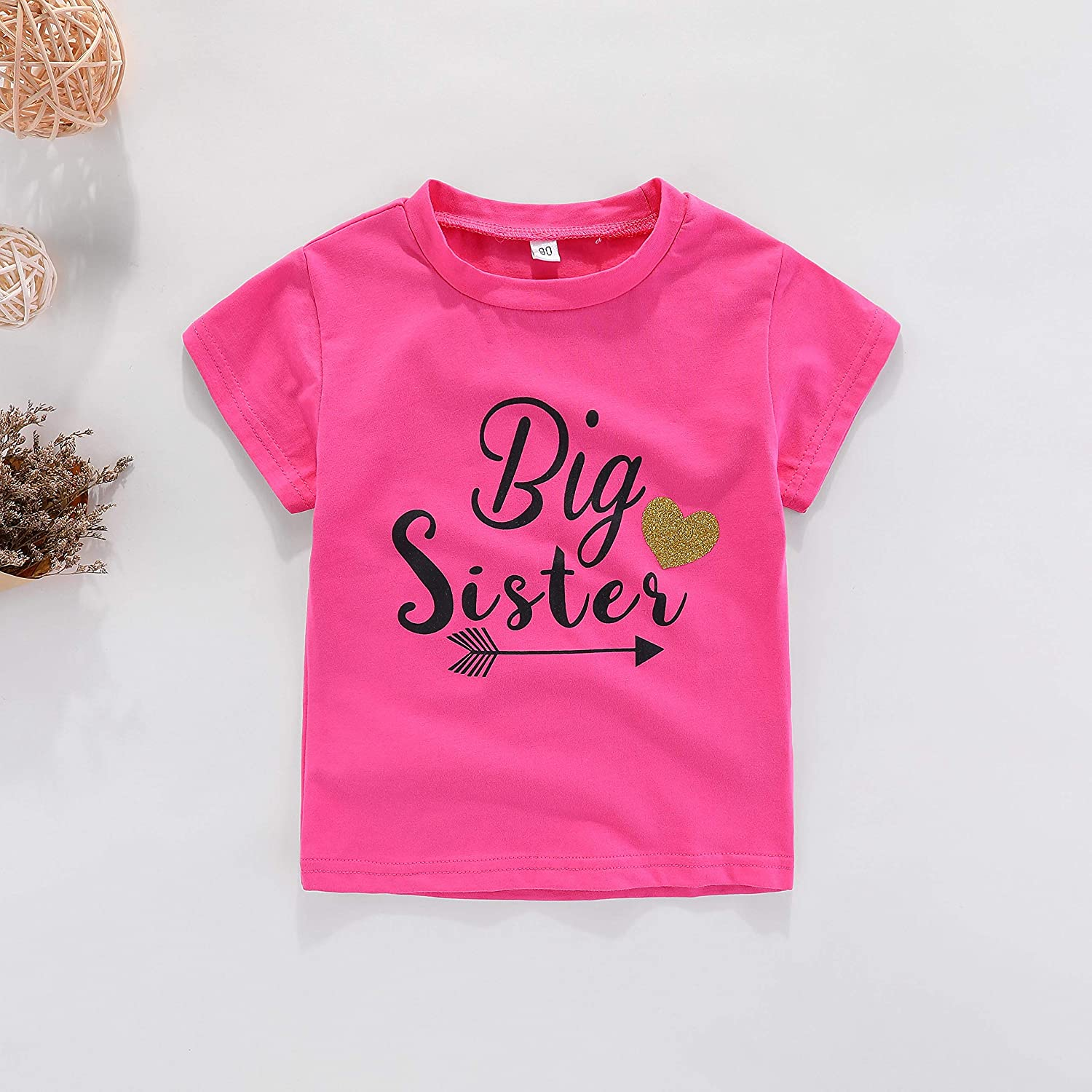 AMMENGBEI Toddler Girls T-Shirt Promoted to Big Sister Letters Print Kids Short Sleeve Tops Blouse 1-6 T