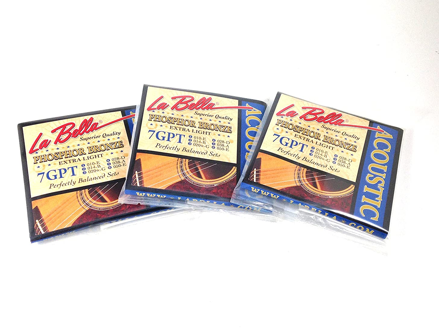 La Bella Guitar Strings Acoustic Phosphor Bronze Extra Light 010-050