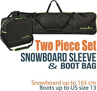 Two-Piece Snowboard and Boot Bag Combo   Store & Transport Snowboard Up to 165 cm and Boots Up to Size 13   Includes 1 Snowboard Bag & 1 Boot Bag (Black)