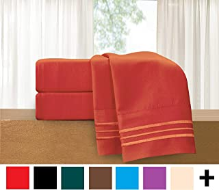 Elegant Comfort 822RRW-Queen-Rust Luxury 4-Piece Bed Sheet Set - Luxury Bedding 1500 Thread Count Egyptian Quality - Wrinkle and Fade Resistant Hypoallergenic Cool & Breathable, Easy Elastic Fitted