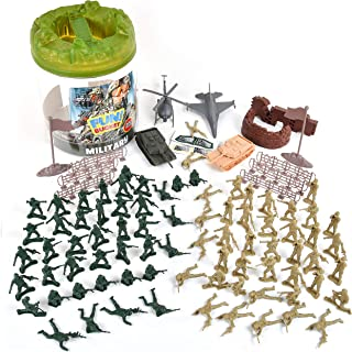 Military Battle Group Bucket � 100 Assorted Soldiers and Accessories Toy Play Set For Kids, Boys and Girls | Plastic Army Men Figures with Storage Container