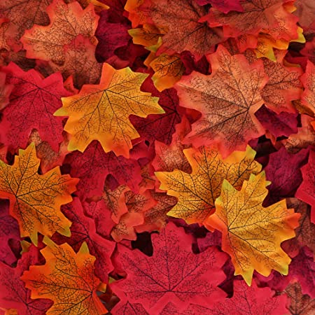 Pack of 100 Artificial Maple Leaf Autumn Leaves Stage Props Decor Yellow