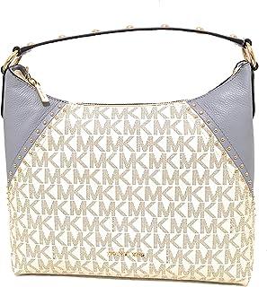 f28a985cab76 Michael Kors Aria Medium Monogram Signature Vanilla/Pale Blue Pvc/Leather  Shoulder Bag (