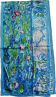 Van Gogh and Claude Monets Paintings, Fashion Silk Scarf Premium Shawl Wrap Art (Van Gogh - Starry Night)