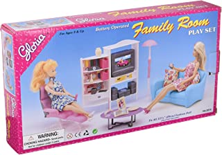 gloria Doll House Furniture, Family Room, TV, Couch, Ottoman