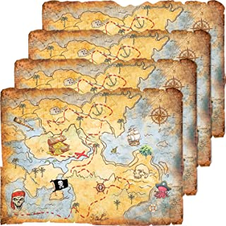 4 Pieces Treasure Map Party Accessory Gold Mind Treasure Map for Pirate Party Halloween Costume Birthday Party Accessory Vintage Retro Style