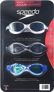 Speedo Adult Swim Goggles Anti-Fog UV Protect Latex Free 3 Pack
