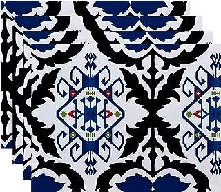 "E by design PT4GN539BL14BL40 18x14"", Bombay Medallion, Geometric Print Placemat, Navy Blue"