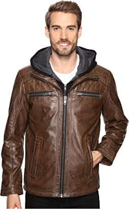 Scully - Karl Leather Jacket with Zip Out Hoodie