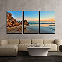 wall26 - 3 Piece Canvas Wall Art - Sunset at California Beach - Modern Home Decor Stretched and Framed Ready to Hang - 16