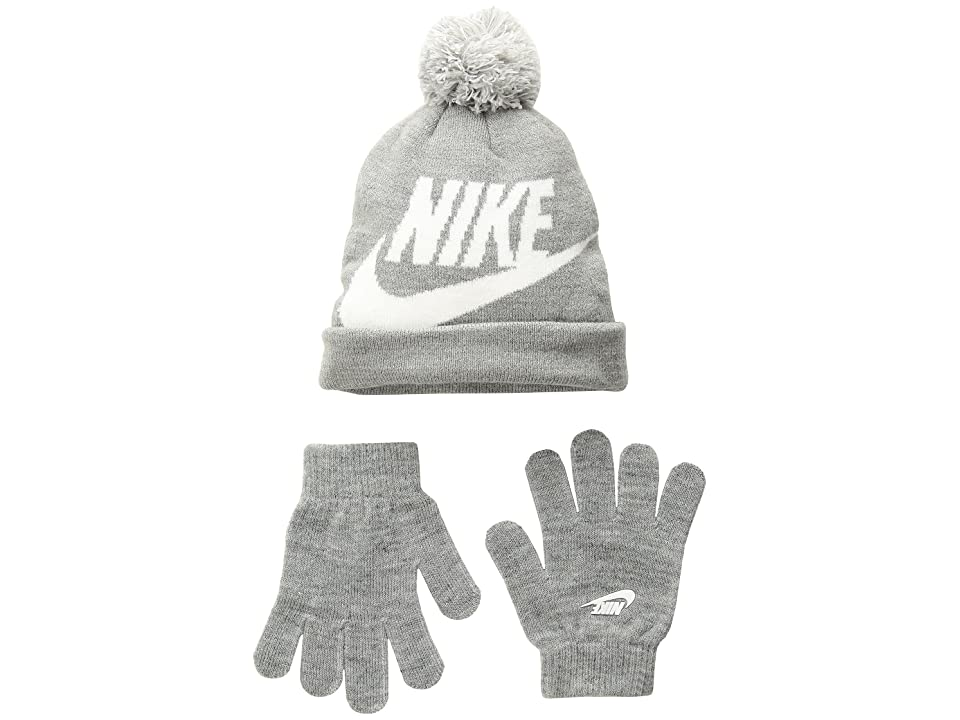 Nike Kids Swoosh Pom Beanie Gloves Set (Little Kids/Big Kids) (Dark Grey Heather) Beanies
