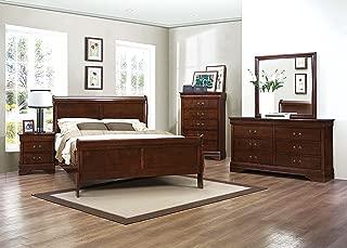 Homelegance Quincy Sleigh Panel Bed, Queen, Cherry
