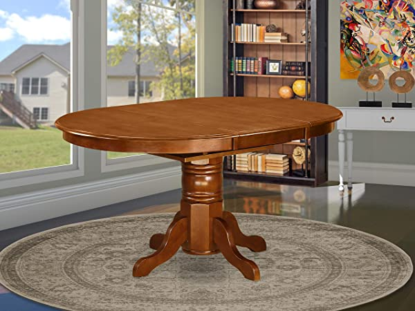 East West Furniture AVT SBR TP Oval 42 60 Inch Table With 18 Inch Butterfly Leaf Medium Saddle Brown Finish