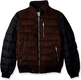Perry Ellis Men's Micro Suede Mixed Media Bomber Jacket