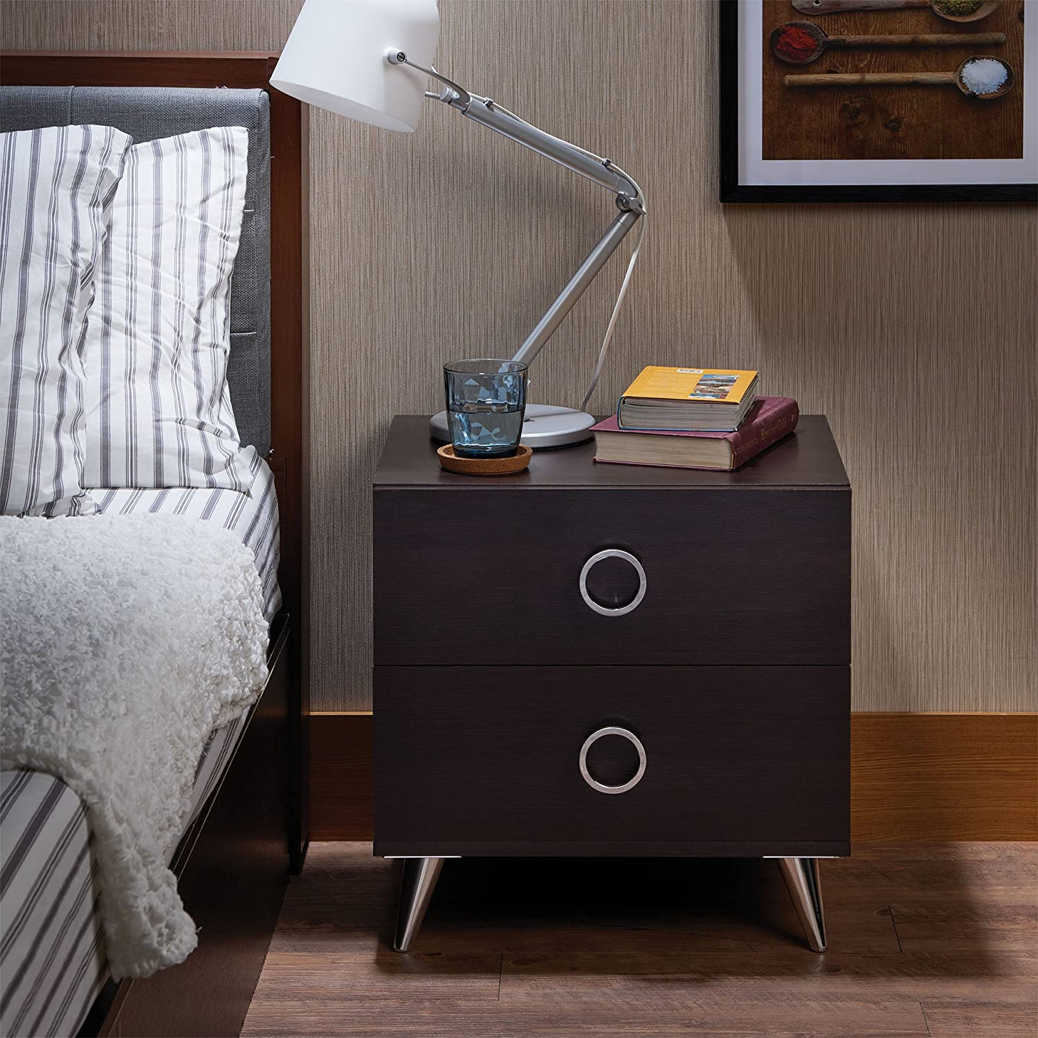 Benzara Rectangular Wood and Metal Nightstand by Elms, Brown and Silver