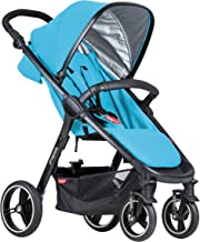 Best phil&teds Smart City Stroller, Cyan – Huge Seat - Easy and Compact Standing Foot Fold – Newborn Ready – Huge Canopy – Puncture Proof Tires – Hand Operated Brake – Travel System Ready Review