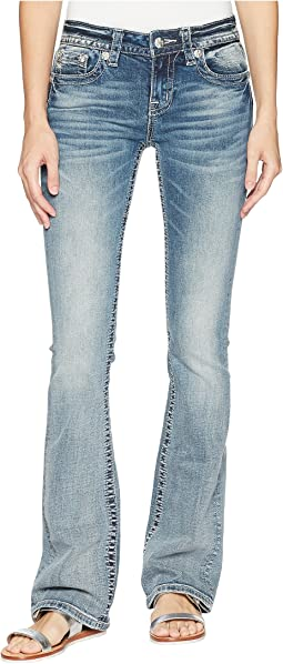 Cross Wing Embellished Bootcut Jeans in Medium Blue