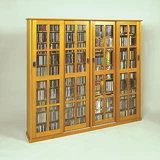 Leslie Dame Mission Style Multimedia Storage Cabinet with Sliding Glass Doors, Oak