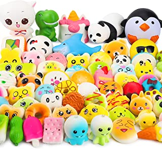 WATINC Random 60pcs Squishies Toy, Slow Rising Scented Cute Mini Food Squishies Pack for Party Favors, Birthday Gift for Kids, Simulation Jumbo Animal Toy for Stress Relief, Goodie Bag Egg Fillers