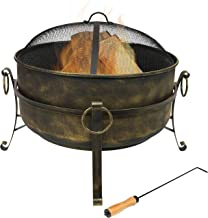Sunnydaze Cauldron Outdoor Fire Pit - 24 Inch Deep Bonfire Wood Burning Patio & Backyard Firepit for Outside with Round Sp...