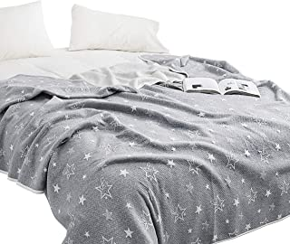 J-pinno Gray Twinkle Stars Jersey Cotton Cozy Quilt Reversible Throw Blanket Bedspread Bedding Coverlet for Kids Teen Boys Bed Gift (4, Twin 59