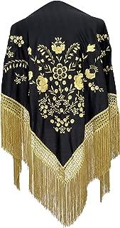 Mantones bordados Flamenco Manton de Manila Grande negro oro, flecos oro