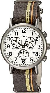 Men's TW2P78000 Weekender Chrono Oversize Brown/Green/Orange Stripe Leather NATO Slip-Thru Strap Watch