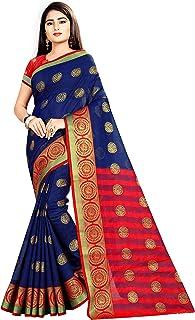 Arkita Stylish Designer Banarasi Silk Saree With Blouse Piece(Navy Blue)