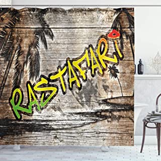Ambesonne Rasta Shower Curtain, Jamaican Reggae Music Inspired Rastafari Street Graffiti Image, Cloth Fabric Bathroom Decor Set with Hooks, 70
