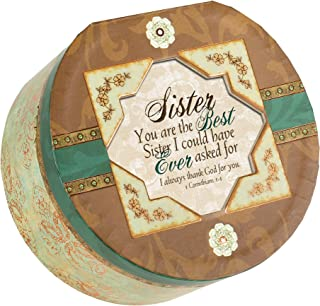 Cottage Garden Sister Belle Papier Round Musical Jewelry Box with Elegance Finish Plays How Great Thou Art