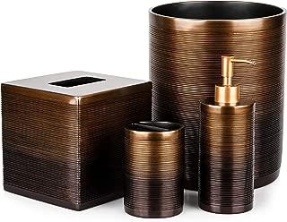 Mantiis Decorative 4 Piece Bath Accessory Decor - Bathroom Accessories Set, Soap Dispenser, Toothbrush Holder, Square Tissue Cover and Trash Can
