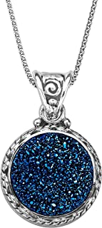 Sajen Natural Steely Blue Druzy Pendant Necklace in Sterling Silver, 18