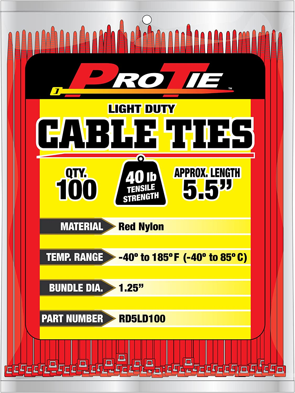 100-Pack Pro Tie OR5LD100 5.5-Inch Orange Light Duty Color Cable Tie Orange Nylon